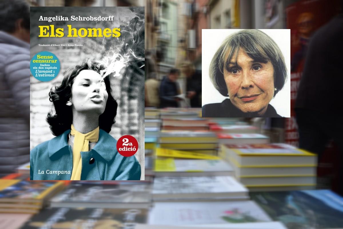 Angelika Schrobsdorff i la portada del seu llibre «Els homes» editat per La Campana