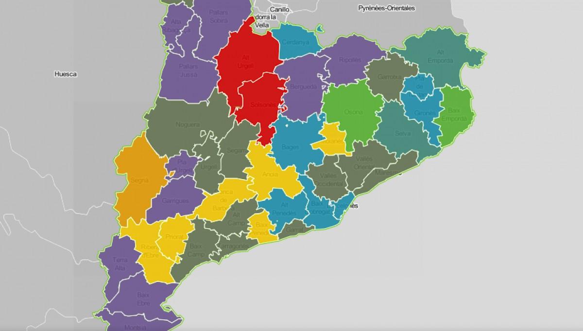 Mapa comarcal de Catalunya, segons la seva problemàtica principal