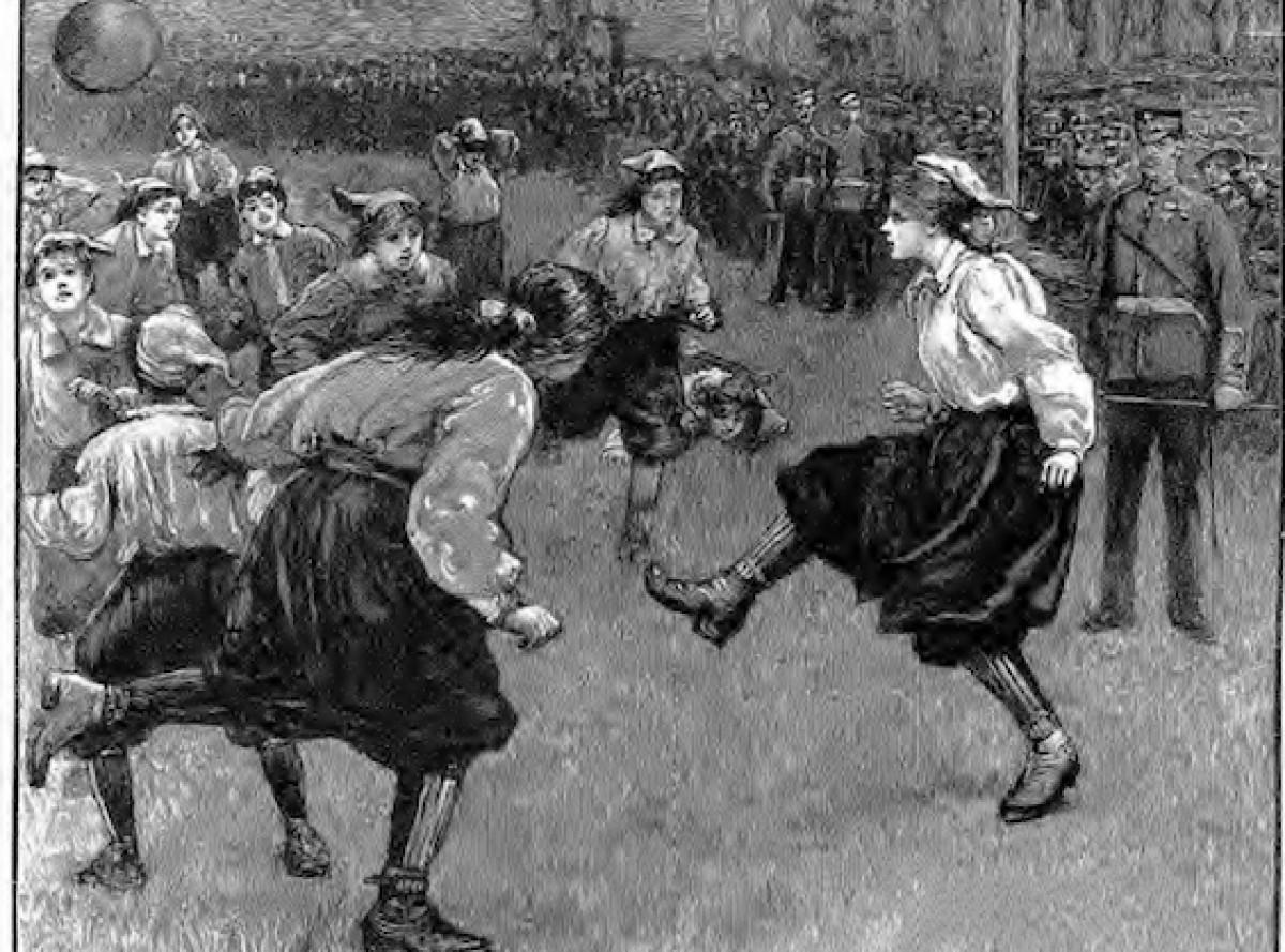 Una il·lustració que recrea el primer partit del club pioner del futbol femení, les British Ladies, el 1895