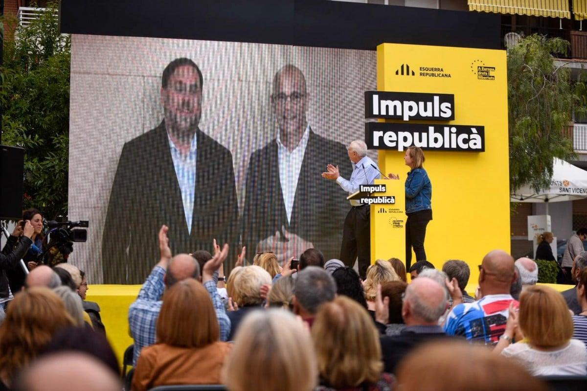 Oriol Junqueras i Raül Romeva durant la campanya del 28-A