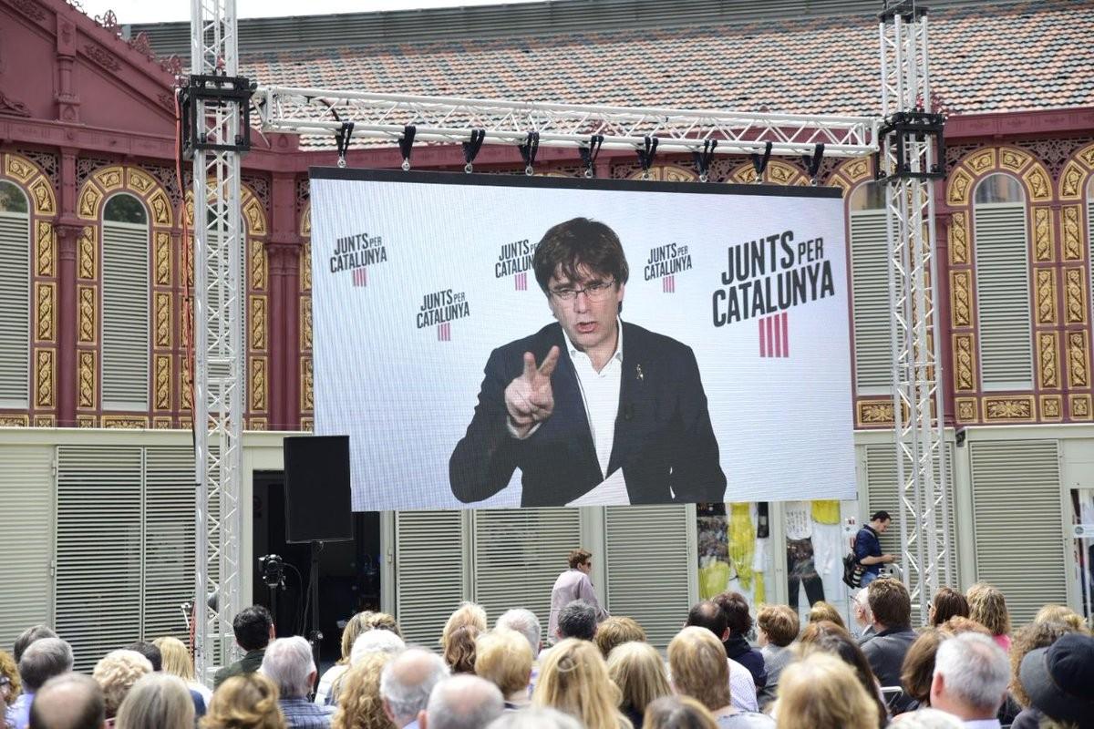 Carles Puigdemont, en un míting de JxCat a Barcelona.