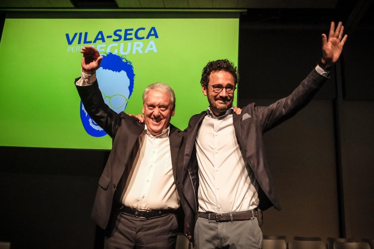 Josep Poblet i Pere Segura, en un acte electoral a PortAventura.