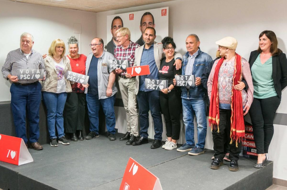 La candidatura del PSC a Gironella, encapçalada per Òscar Besa.