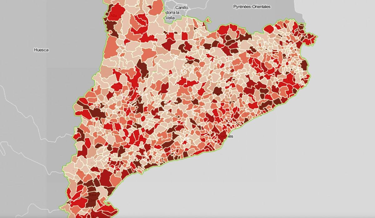 Mapa municipal de Catalunya, segons el deute per càpita dels seus ajuntaments