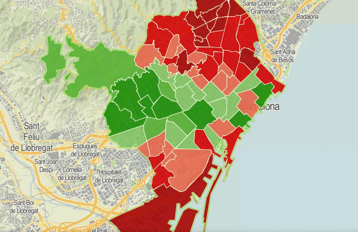 Mapa dels barris de Barcelona, en funció del seu nivell de renda familiar disponible.