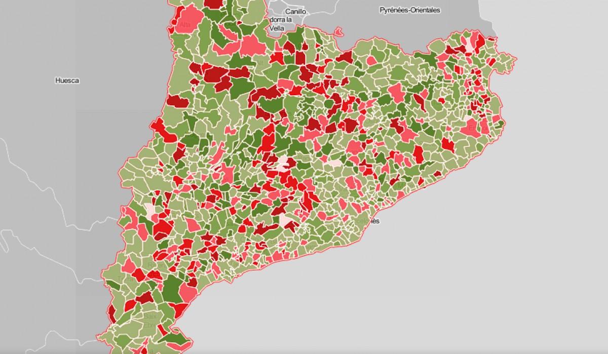 Mapa municipal de Catalunya, segons l'evolució del pressupost des del 2014.