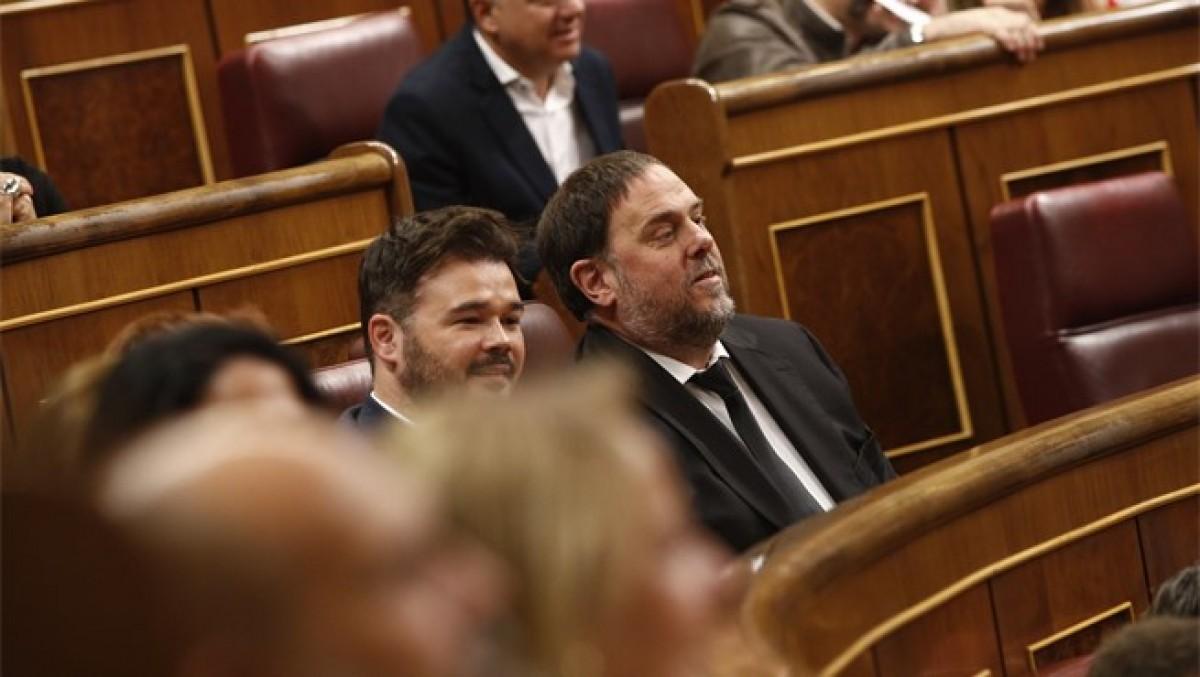 Oriol Junqueras, assegut a l'escó del Congrés