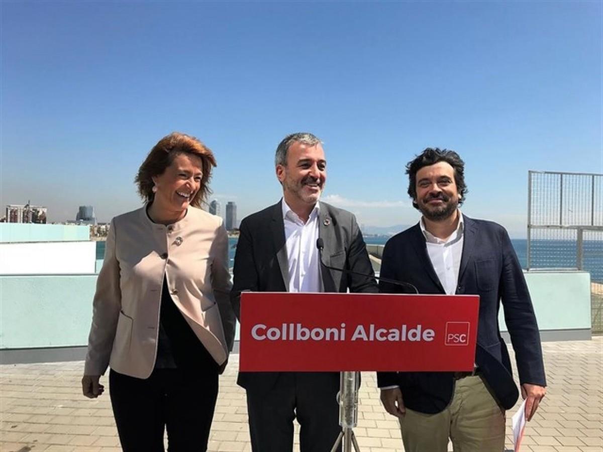 Laia Bonet, Jaume Collboni i Carmel Mòdol aquest dimarts.