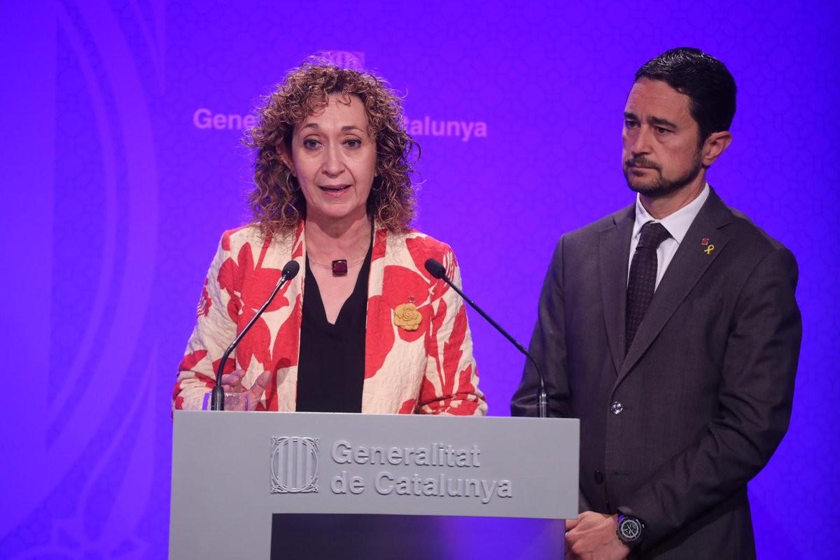 Ester Capella i Damià Calvet, aquest dimarts després de la reunió de Govern