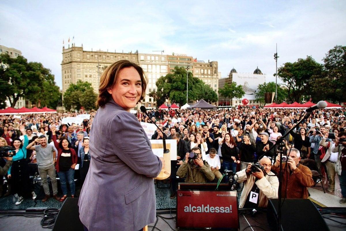 Ada Colau, durant el míting central de Barcelona en Comú a plaça de Catalunya.