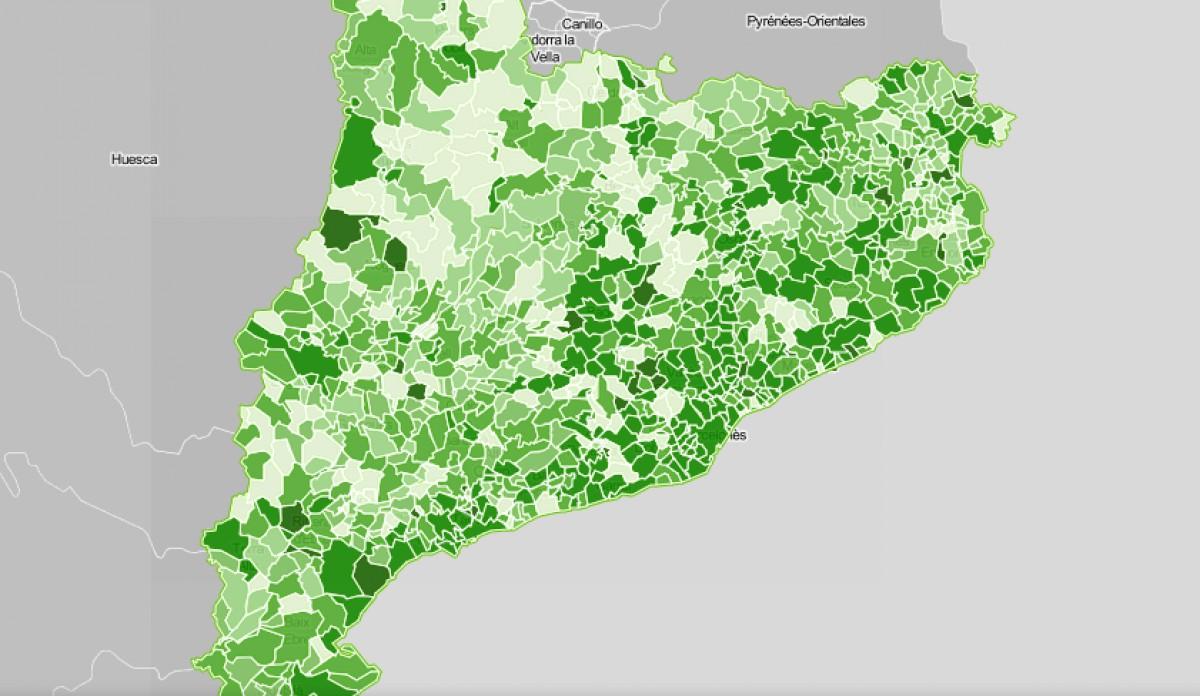 Mapa municipal de Catalunya, segons la despesa social de l'ajuntament.