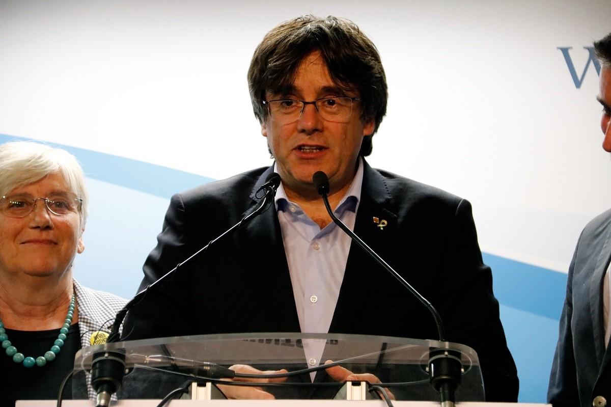 Carles Puigdemont, Clara Ponsatí i Toni Comín, aquest diumenge a Brussel·les