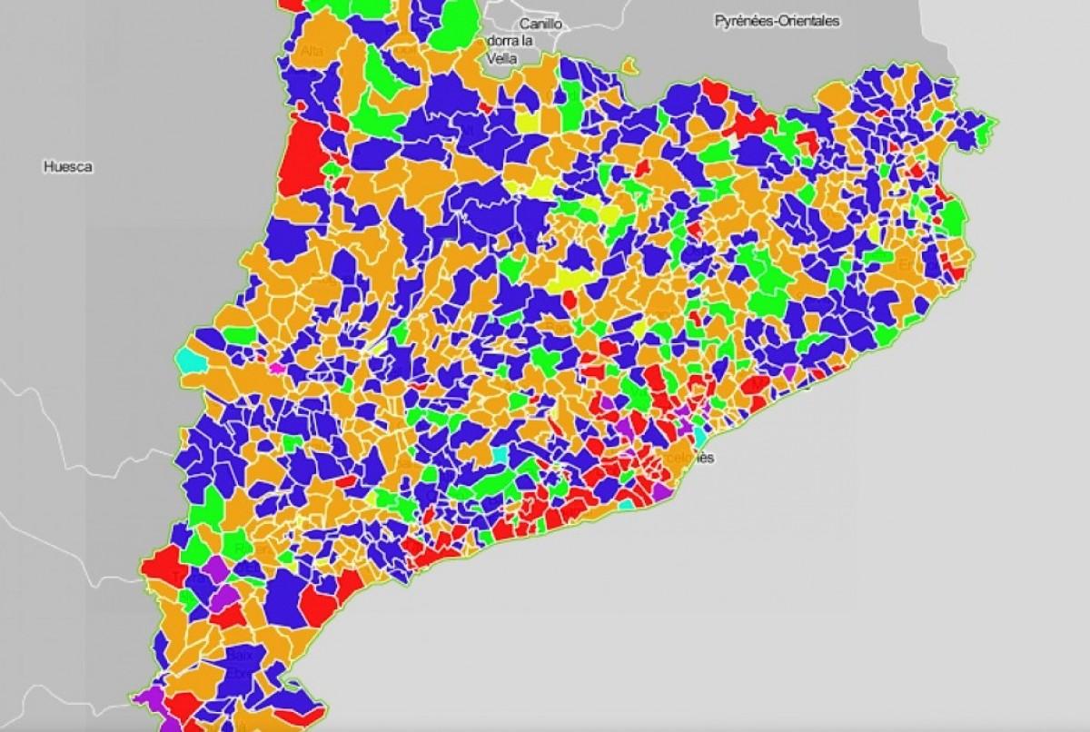 Mapa municipal, segons el primer partit a cada ajuntament.