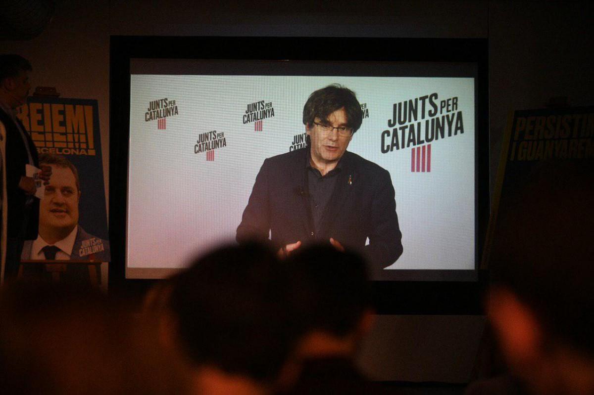 Carles Puigdemont, aquest dilluns en roda de premsa