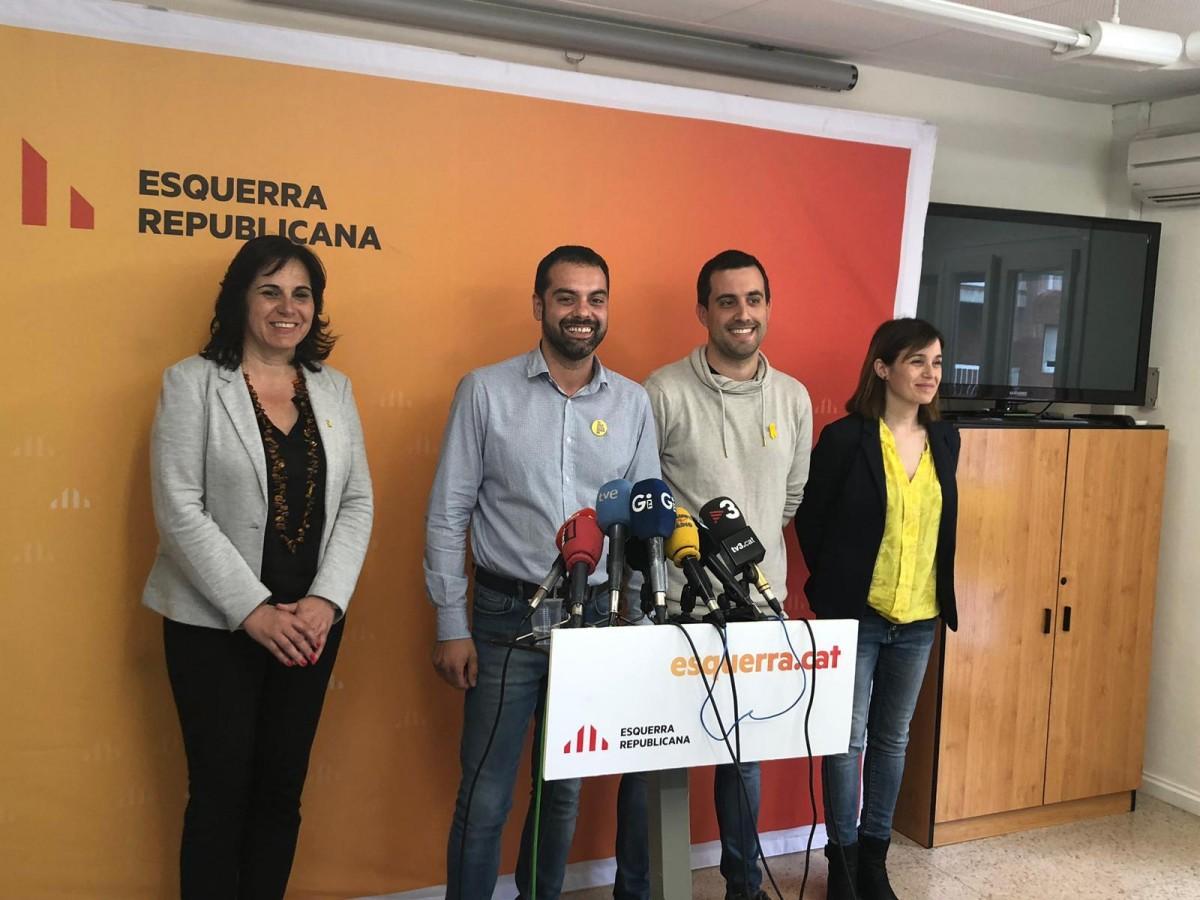 Quim Ayats amb els altres nous regidors d'ERC a Girona.