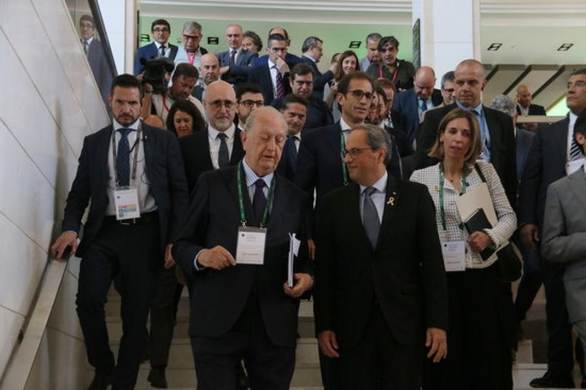 El president Torra a les darreres Jornades del Cercle d'Economia a Siteges, acompanyat de l'expresident de l'entitat, Juan José Brugera.