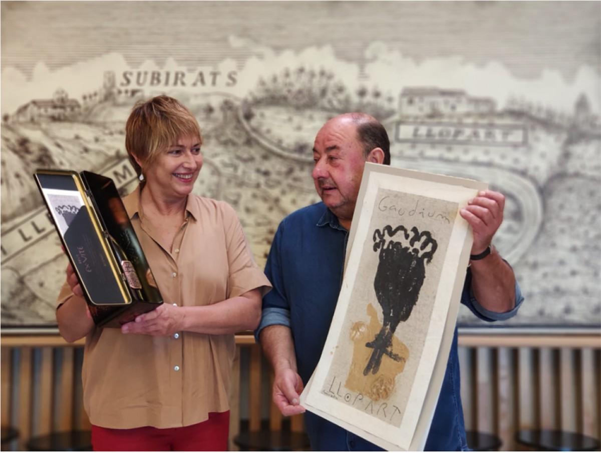Xon Llopart i Fèlix Plantalech amb l'obra Gaudium de l'artista i l'Ex·Vite
