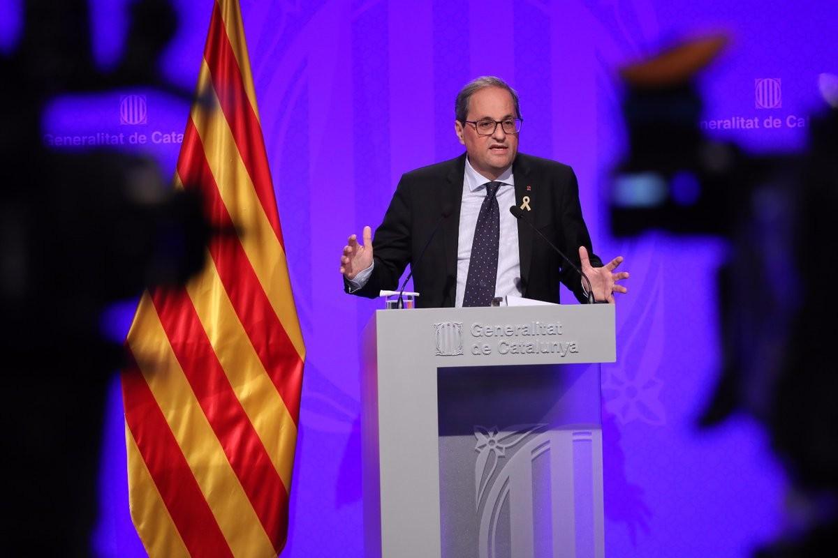 El president de la Generalitat, Quim Torra, en una roda de premsa al Palau de la Generalitat