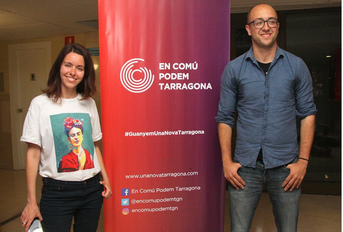 Carla Aguilar i Hermán Pinedo, els dos regidors electes d'En Comú Podem Tarragona.