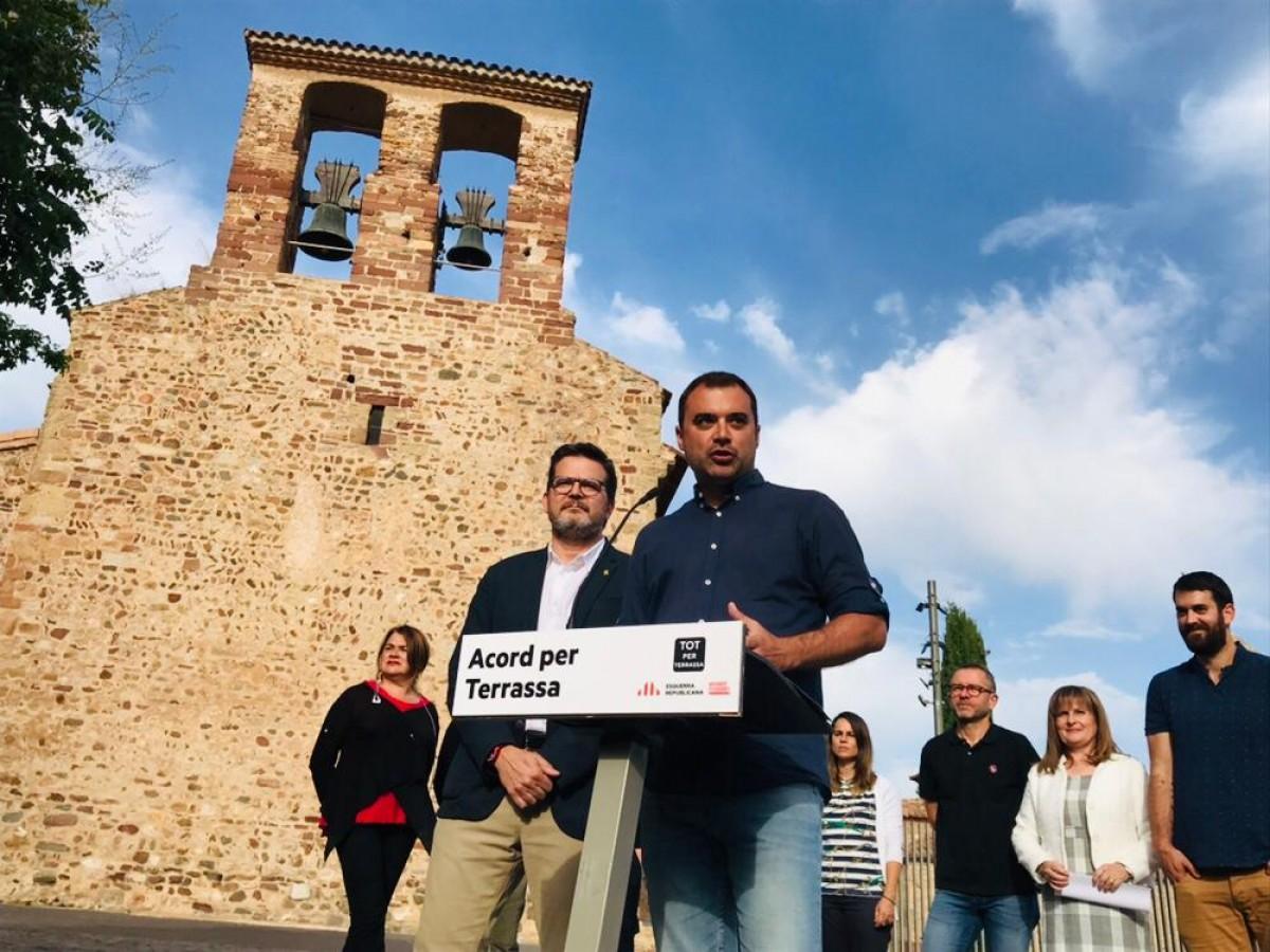 Jordi Ballart i Isaac Albert a l'acte d'acord per Terrassa.