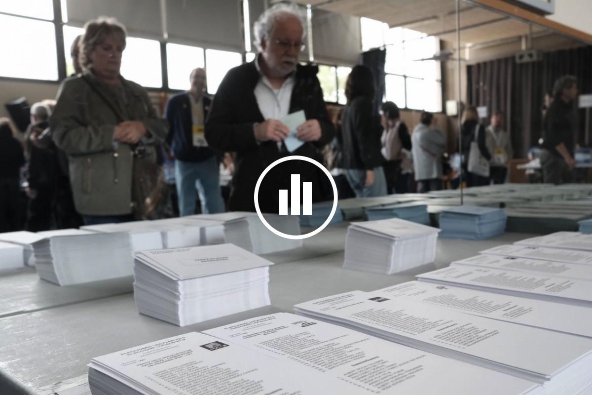 Votants en un col·legi electoral, aquest 26-M.