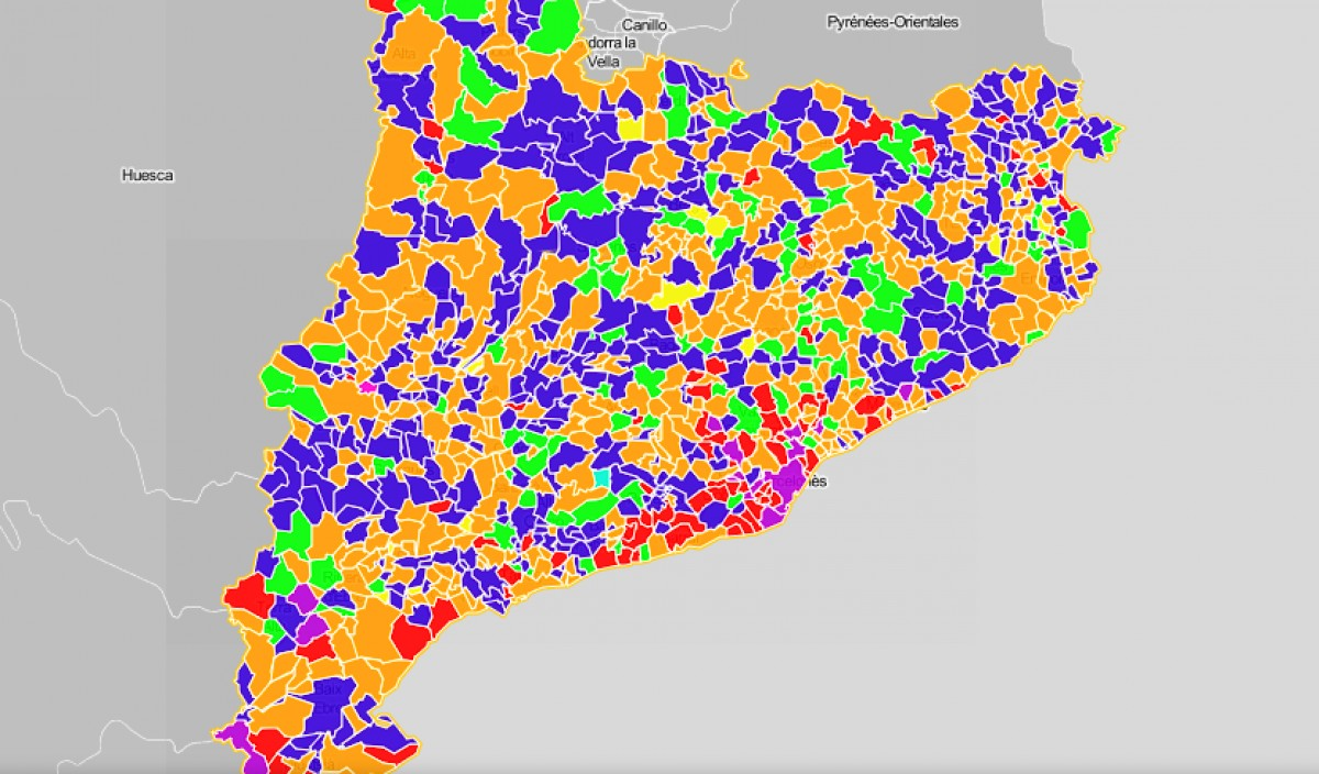 Mapa municipal, segons el partit de l'alcaldia.