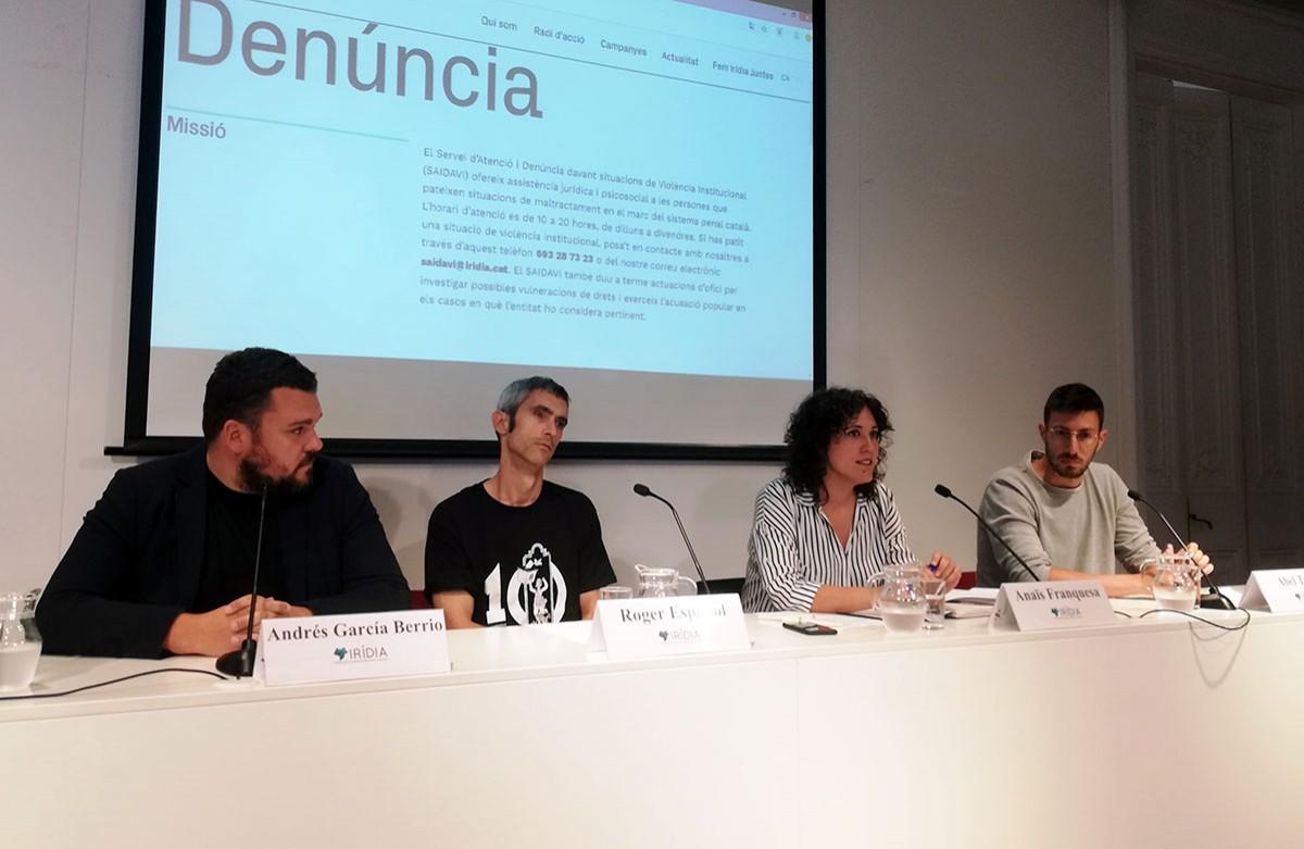 Roda de premsa d'Irídia sobre la identificació de l'agent que va ferir Roger Español.