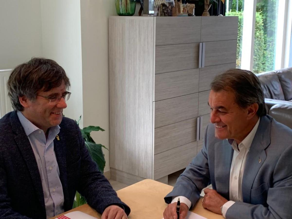Carles Puigdemont i Artur Mas, aquest dijous a Waterloo