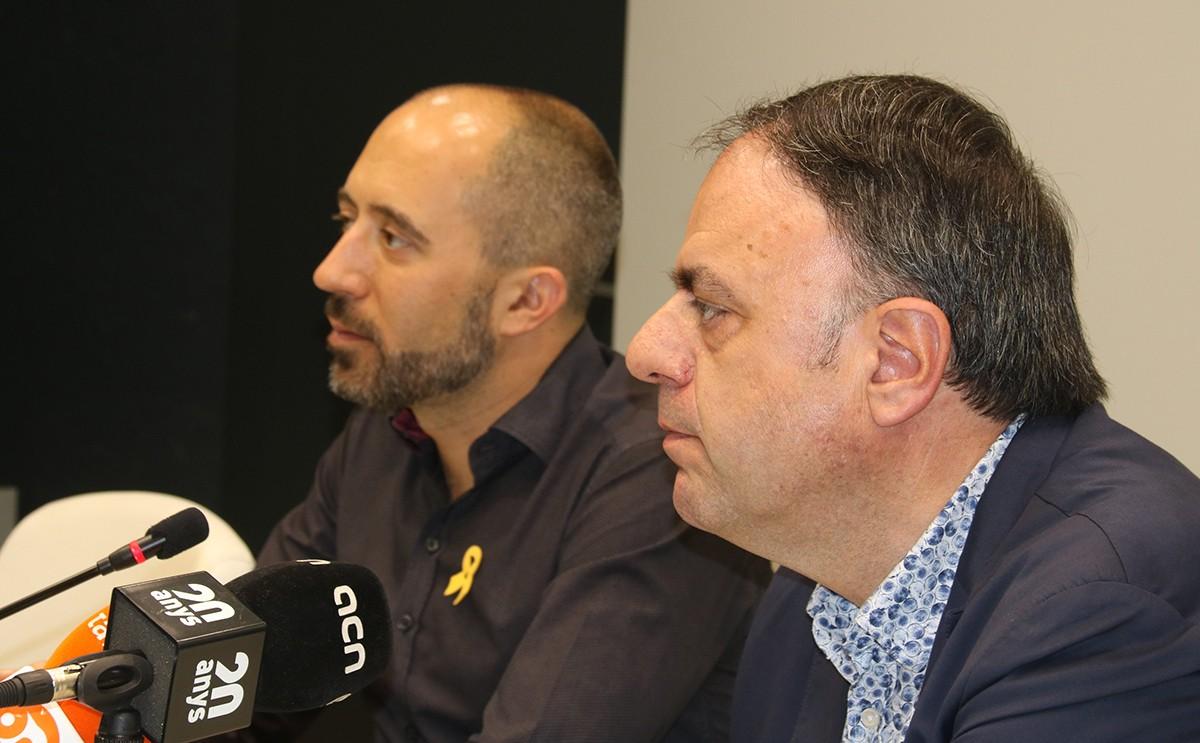 Marc Aloy i Valentí Junyent en la roda de premsa de presentació del cartipàs