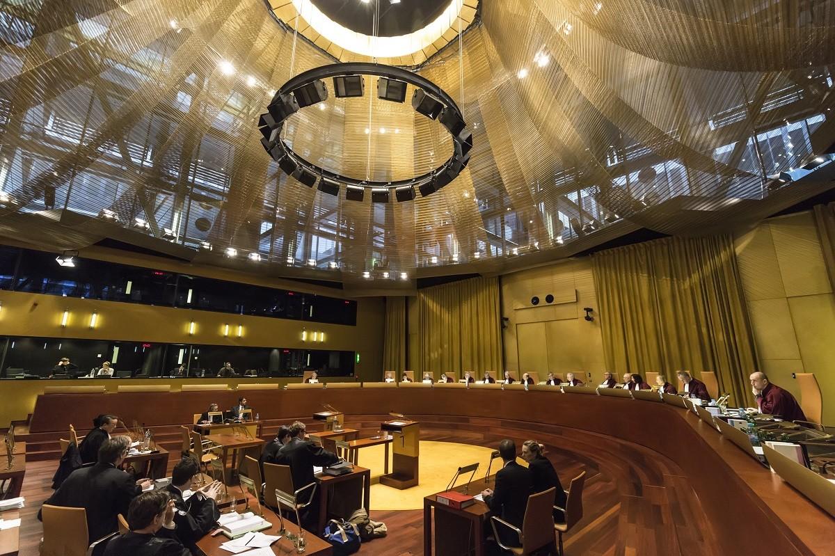 Sala de vistes del Tribunal de Justícia de la Unió Europea, amb seu a Luxemburg