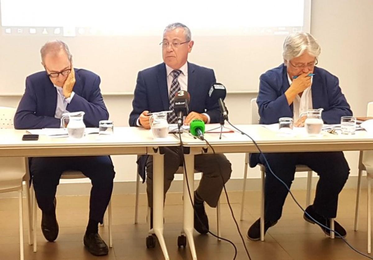 Albert Carreras, Modest Guinjoan i Jordi Goula en un acte al CEC.