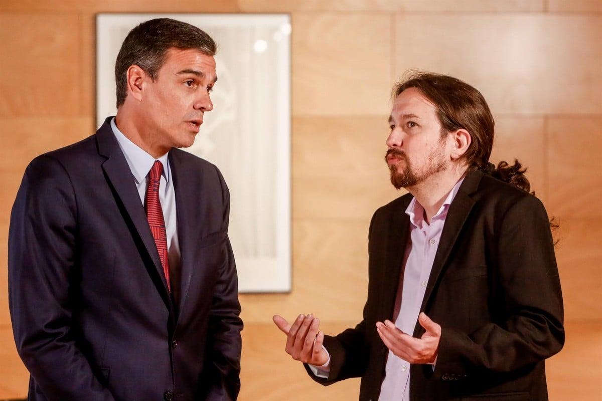 Pedro Sánchez i Pablo Iglesias, en l'última reunió al Congrés.