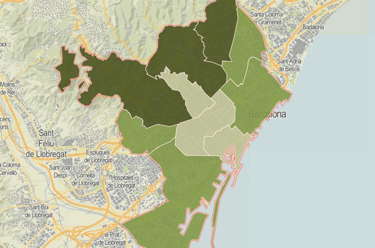 Mapa de districtes de Barcelona, en funció del percentatge de resolució dels delictes sexuals.