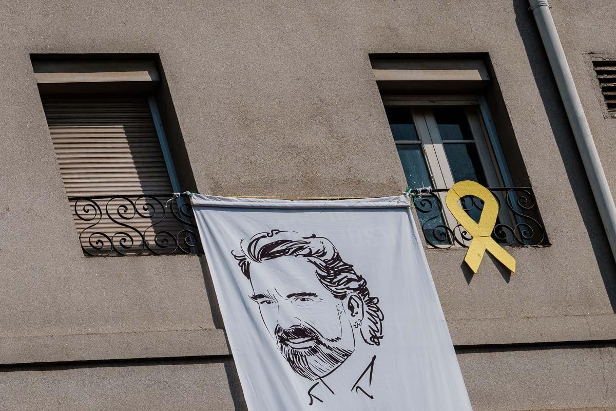 Pancarta amb el retrat de Jordi Cuixart