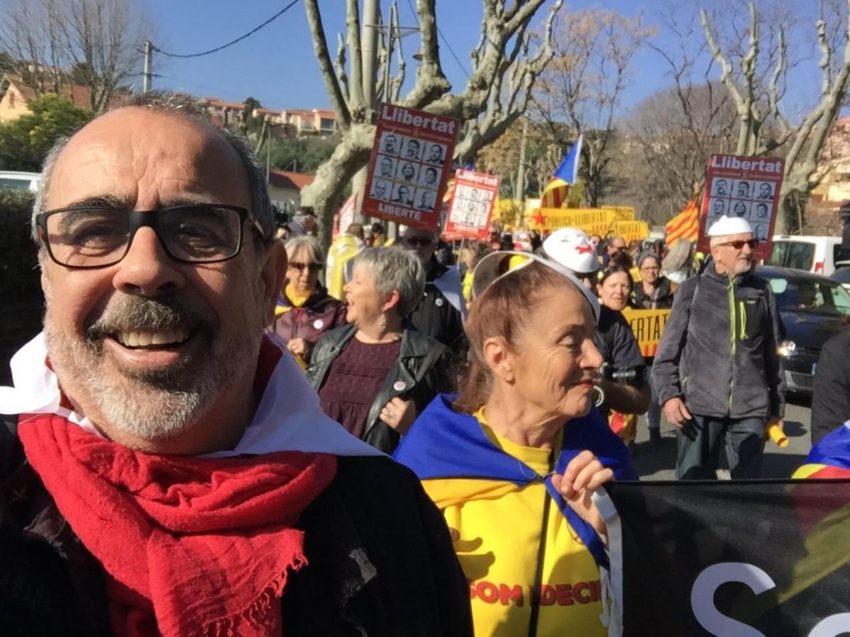 Nicolas Garcia en el transcurs de la protesta contra la visita de Pedro Sánchez a Cotlliure.