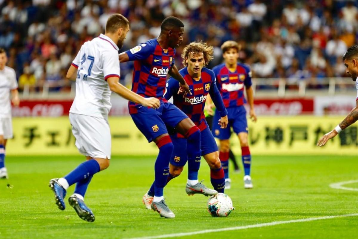 Dembelé i Griezman en un moment del partit contra el Chelsea de pretemporada