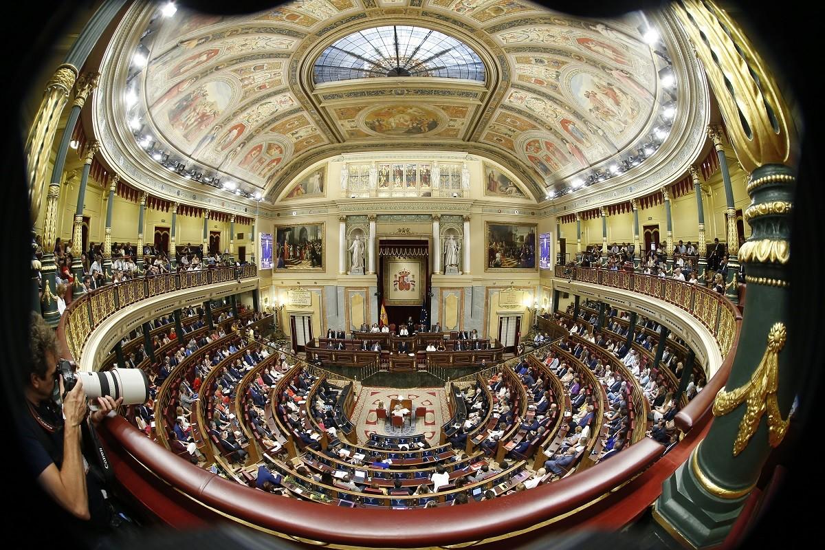 Hemicicle del Congrés durant el debat d'investidura de Pedro Sánchez