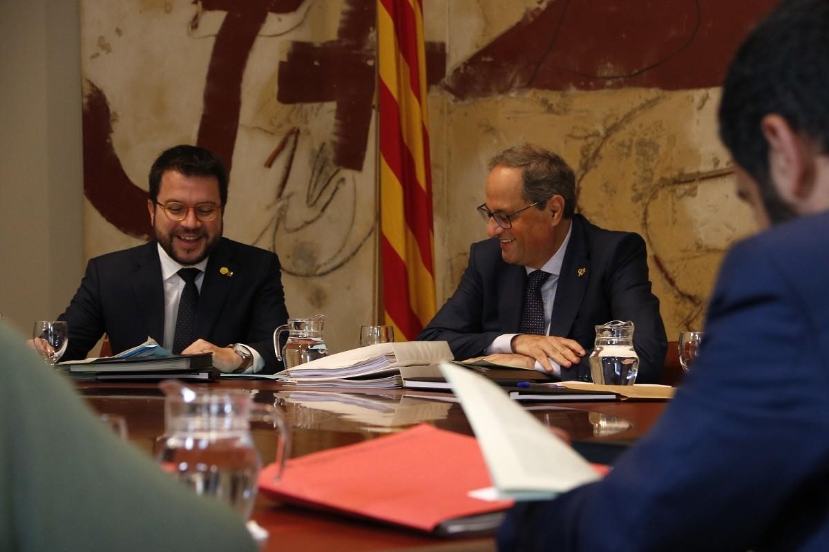 Quim Torra i Pere Aragonès en una reunió de Govern.