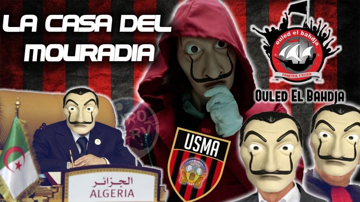 Imatge promocional de la cançó «La Casa del Mouradia» amb el president Bouteflika lluint la màscara de Dalí característica de la sèrie