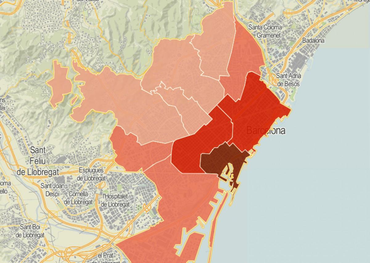 Mapa  de districtes, en funció de la ràtio de robatoris amb violència.