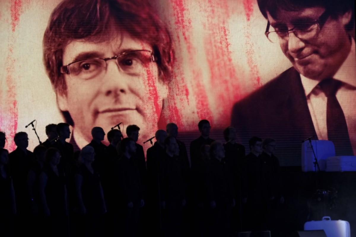 Imatge de Carles Puigdemont en l'acte institucional de la Diada