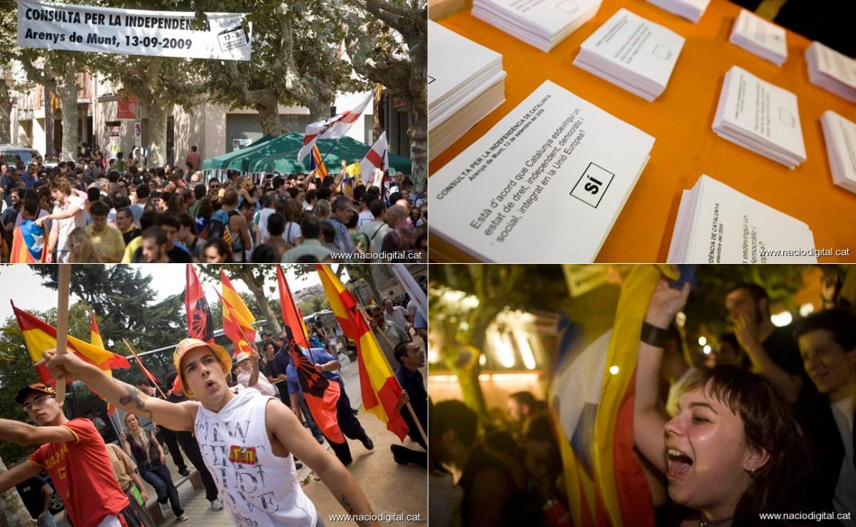 Quatre imatges representatives dels diversos moments de la consulta d'Arenys del 2009