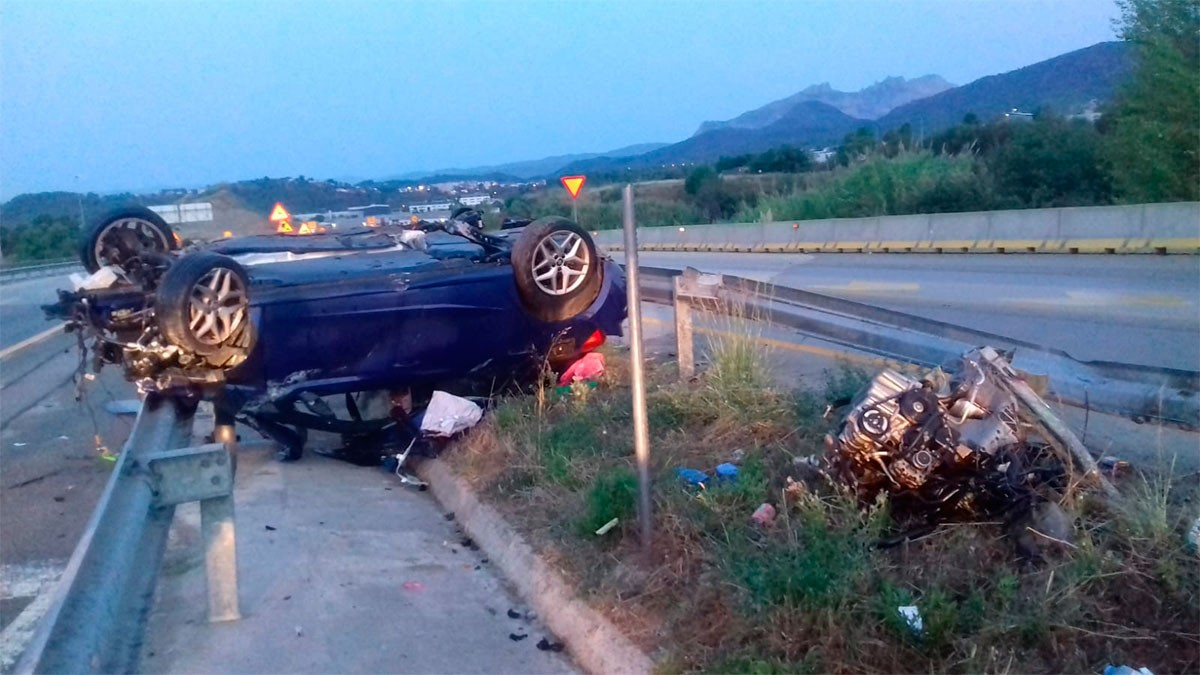 El vehicle, després de l'accident mortal.