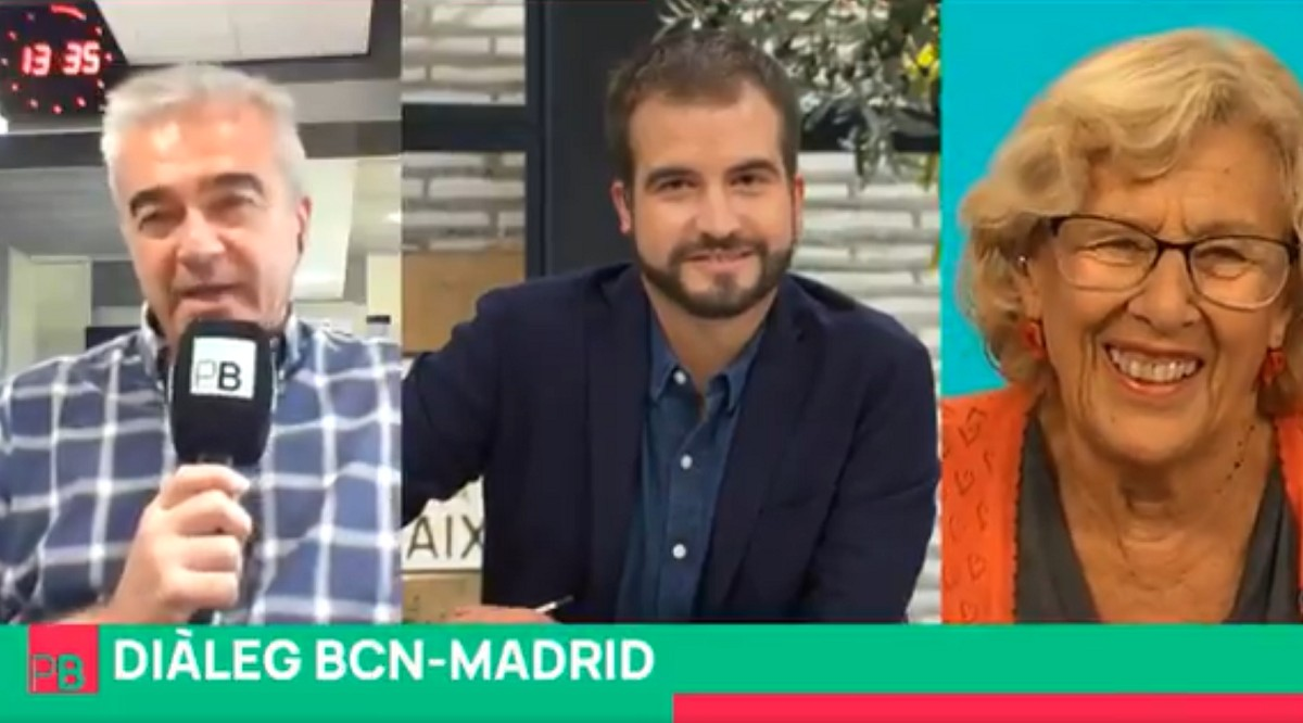 Carles Francino, Ricard Ustrell i Manuela Carmena en el primer programa del «Planta baixa».