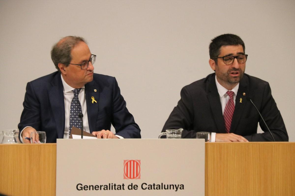 El president Quim Torra i el conseller Jordi Puigneró, en un acte recent