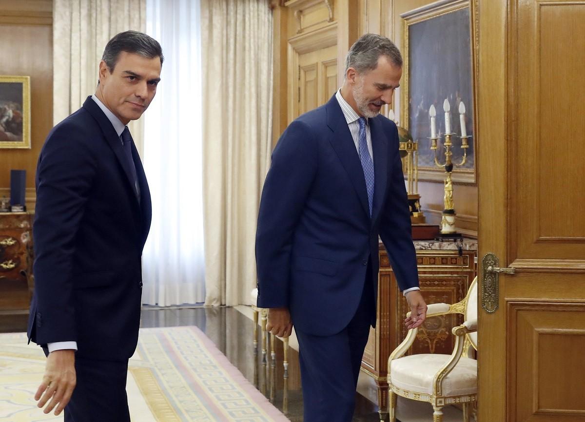 El líder del PSOE, Pedro Sánchez, amb el rei Felip VI aquest dimarts