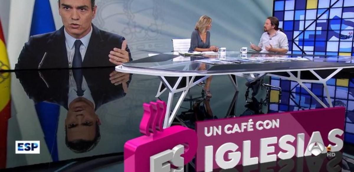 Pablo Iglesias, durant l'entrevista a Antena 3 aquest divendres