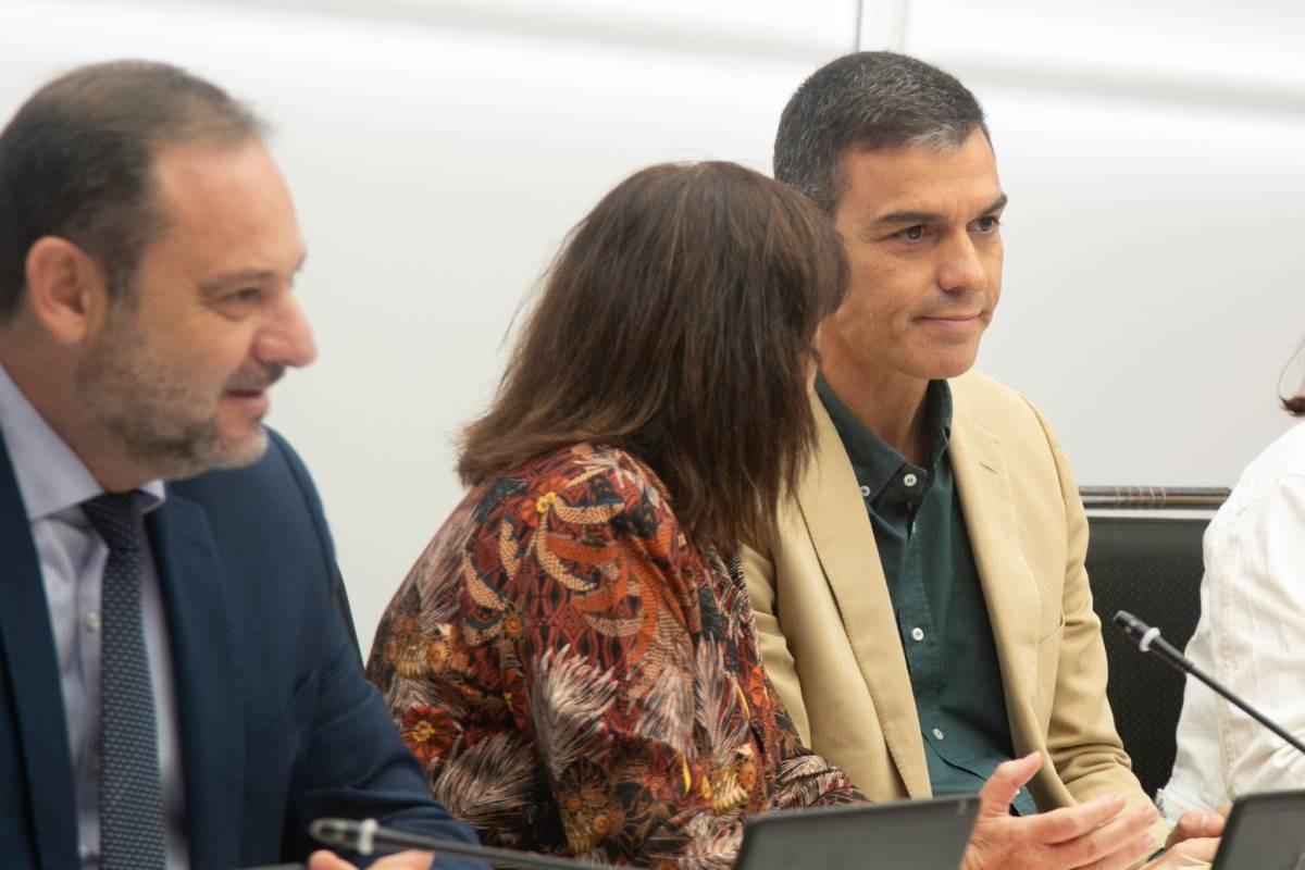 Pedro Sánchez, durant una reunió de la direcció del PSOE.