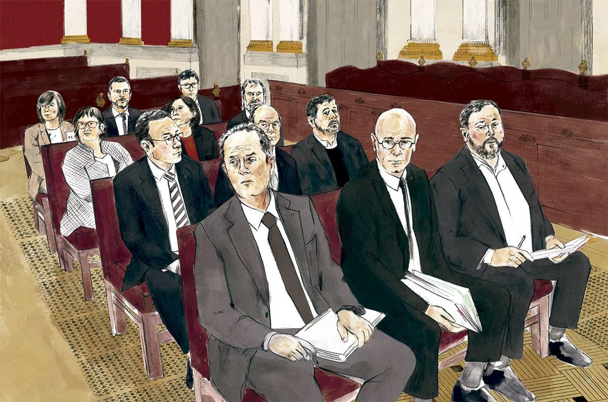 Il·lustració de la bancada dels acusats de l'1-O (detall).