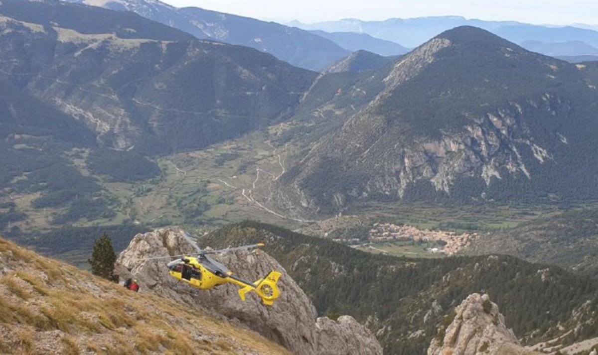 L'helicòpter de rescat aquest diumenge.